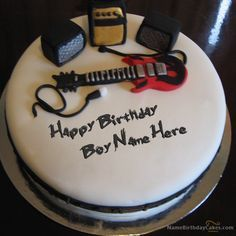 write name on Music Birthday Cake For Boys picture