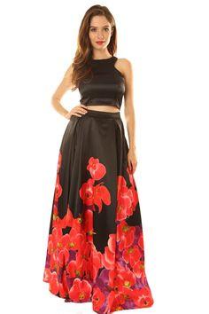 bda837405cf Satin Crop Top and Flower Print Skirt Set