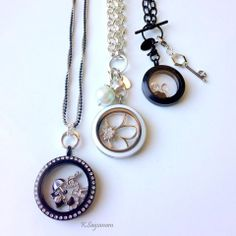 Origami Owl Black and White Chains and Lockets