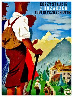 Swiss Hiking Art Print Switzerland Home Decor by Blivingstons