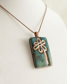 Porcelain flower pendant with copper ball chain by ALLArtsyJewelry, $25.00