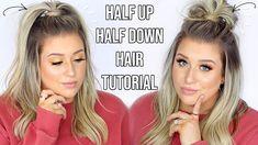 Hair Tutorials For Medium Hair, Up Dos For Medium Hair, Easy Hairstyles For Medium Hair, Quick Hairstyles, Summer Hairstyles, Half Up Half Down Hair Tutorial, Messy Half Up Half Down Hair, Pony Hairstyles, Hair Down Hairstyles