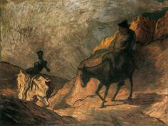 Giclee Print: Don Quixote and Sancho Panza, 1866 by Honore Daumier : Honore Daumier, Google Art Project, Museum, Tropical Art, Wood Engraving, Berlin, Art Google, Find Art, Printmaking