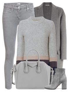 """""""Confusion"""" by monmondefou ❤ liked on Polyvore featuring CÉLINE, Mother, Brochu Walker, Givenchy, Gianvito Rossi, grey and gray"""