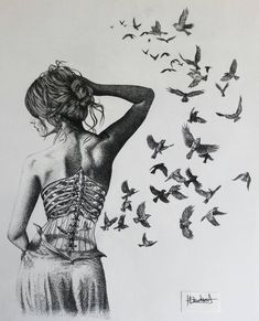 """Young Artist Making Awesome Pictures with Drawing Techniques He Learned from His Father: """"Helen Rose"""" - DIY Fashion Pictures Anatomy Art, Bird Drawings, Drawing Birds, Pencil Drawings, Art Graphique, Drawing Techniques, Surreal Art, Dark Art, Art Inspo"""