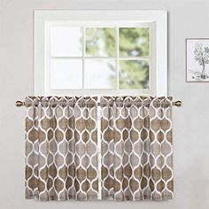 CAROMIO Cafe Curtains 30 Inch Length, Geometric Printed Short Tier Curtains for Kitchen Dining Room Small Half Window Curtains for Bathroom, Brown/Taupe Half Window Curtains, Short Curtains, Tier Curtains, Cafe Curtains, Bathroom Curtains, Kitchen Curtains, Kitchen Dining, Dining Room, Soft Furnishings