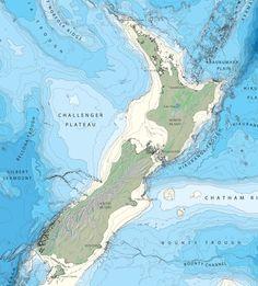 New Zealand Region Bathymetric Map