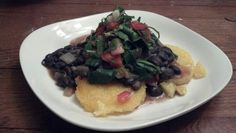 Feb 7: Polenta with chipotle in adobo black beans, collards, and salsa