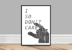 Originaldruck - Kunstdruck Poster / Don't Care - ein Designerstück von typealive bei DaWanda