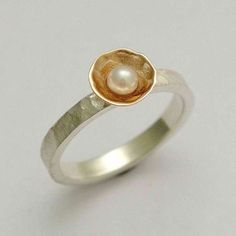 14K white gold engagement ring with a yellow gold bowl ring inlaid fresh water pearl - Pure and innocent .