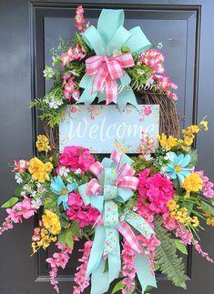 Spring Wreath, Spring Wreath For Front Door, Mother's Day Gift, SassyDoors Wreath, Welcome Wreath Welcome Signs Front Door, Welcome Wreath, Front Door Decor, Wreaths For Front Door, Door Wreaths, Grapevine Wreath, Spring Door, Spring Sign, Spring Summer