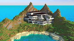 Modern Mansion – Cliff Side Escape – Minecraft Building Inc Minecraft Mods, Big Minecraft Houses, Minecraft Modern Mansion, Minecraft Villa, Casa Medieval Minecraft, Minecraft Plans, Minecraft Houses Blueprints, Minecraft City, Amazing Minecraft