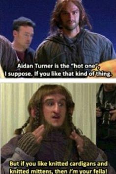 "Adam Brown ""Ori"" talking about Aidan Turner ""Kili"" - I knew I liked Ori for some reason!"