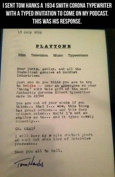 Tom Hanks Can't Get Enough Vintage Typewriters - I've seen this before but I didn't know it was from Chris Hardwick!