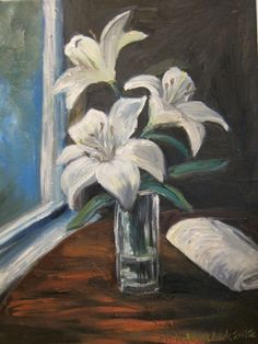 Lilies by a Window II 2012, Oil painting at a table from a coffeehouse called Majurska, Lappeenranta, Finland.
