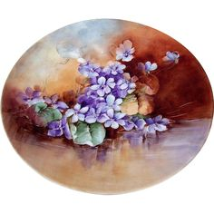 """Beautiful T & V Limoges France 1900's Hand Painted Vibrant """"Reflecting Violets"""" 9-1/2"""" Plate by the Artist, """"Maybelle Edwards"""""""