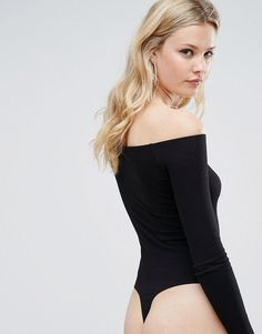ASOS TALL Long Sleeve Off Shoulder Body - Black