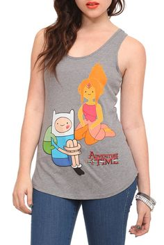 Heather grey tank top from Adventure Time with Finn and his love interest Flame Princess. Adventure Time Clothes, Adventure Time Finn, Flame Princess, Princess Girl, Princess Adventure, Fanart, Tank Girl, Sweater Weather, Passion For Fashion