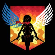 """This design was for a t-shirt contest with the theme: """"Anime."""" For this contest I got inspired to make a Shingeki no Kyojin (Attack on Titan) design, be. Angels and Titans Wallpaper Animes, Animes Wallpapers, Itori Tokyo Ghoul, Snk King Of Fighters, Manga Anime, Anime Art, Eren X Mikasa, Fanart, Eremika"""