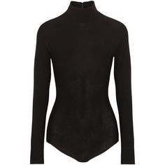 Donna Karan New York Stretch-jersey turtleneck bodysuit ($850) ❤ liked on Polyvore featuring intimates, shapewear, bodysuit, sweaters, black and donna karan