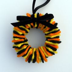 Rescued Wool Wreath Ornament - Halloween Sweater Wreath with Black Velvet Ribbon - recycled  wool wreath by alicia todd