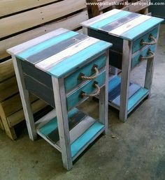 DIY Pallet Projects That Are Easy To Make recycled pallet end tables The post DIY Pallet Projects That Are Easy To Make appeared first on Pallet Ideas. Wooden Pallet Projects, Wooden Pallet Furniture, Pallet Crafts, Wooden Pallets, Pallet Wood, Pallet Bench, Pallet Stairs, Outdoor Pallet, 1001 Pallets