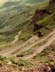 The winding road of Sani Pass, from Himeville, South Africa. The road leads up to the border with Lesotho.