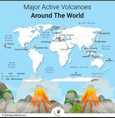 A volcano is a rupture in the earth's surface, on the crust layer, that allows the escape of lava, volcanic ash and gases from a magma chamber in the earth's inner layers. Geography Revision, Geography Lessons, Teaching Geography, Physical Geography, World Geography Map, Earth And Space Science, Science And Nature, Earth From Space, Volcano World