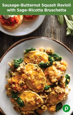 Rev up your ravioli with this Publix Aprons recipe. The Sausage-Butternut Squash Ravioli with Sage-Ricotta-Bruschetta is an easy way to make Tuesday night's dinner feel like a Friday night celebration.
