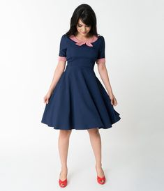 Retro Style Navy Blue & Stripe Short Sleeve Flare Dress