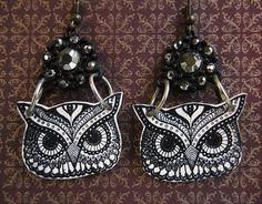 Owl Earrings  Owl Jewelry by Skullbag on Etsy, £6.49