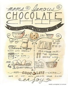 Items similar to illustrated recipe - custom design illustrated recipe art for kitchen or home on etsy - Chocolate chip cookie recipe illustration print – kitchen decor, tea, cookies, recipe, ink - Cake Illustration, Food Illustrations, Chocolate Cookie Recipes, Chocolate Chip Cookies, Tea Cakes, Cookies Receta, Sketch Note, Vintage Recipes, Cookies Et Biscuits