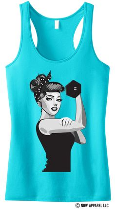 "Who run the world? Girls! Express your inner strength with this comfy and statement making workout tank top! Def won't find this beauty in stores! ""MODERN ROSIE the RIVETER"" Racerback Tank by NoBullWoman."