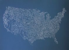 Rivers of America Map Poster Print in Navy: 24 x 32 Screenprint by Nina Montenegro, The Far Woods //  Wall Art, River Map of United States, Water Art, Art Print, Map Art