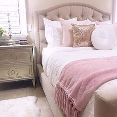 Introduce romance into the bedroom with a softly sloping bed (the Nicolette Bed) and feminine accents like the Empire Nightstand. Quiet moments and serene dreams courtesy of and this perfectly blushing bedroom! Pink Bedroom For Girls, Pink Bedrooms, Teen Girl Bedrooms, Master Bedrooms, Dream Rooms, Dream Bedroom, Home Decor Bedroom, Bedroom Ideas, Girls Bedroom Furniture