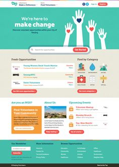volunteer | make a difference | webpage | design | trend | flat