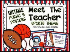 Meet the Teacher - Sports Theme -Make Back to School or Open House easier with these EDITABLE POWERPOINT Meet the Teacher SPORTS THEME forms and posters.I created these Meet the Teacher forms and posters to minimize the chaos of Back to School! You will find them easy to edit to fit your own needs.