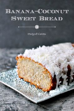 This Banana Coconut Sweet Bread is incredibly easy to make. It uses coconut in each element to really give it a tropical twist. Just Desserts, Delicious Desserts, Dessert Recipes, Yummy Food, Coconut Recipes, Banana Recipes, Bread Recipes, Tamarindo, All You Need Is