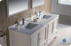 "72"" Oxford Double Vanity - White (FVN20-3636AW) - modern - bathroom vanities and sink consoles - san diego - BathGems"