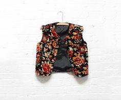 60s Velvet Vest S  Tapestry Vest Small  Floral Button by OmniaVTG