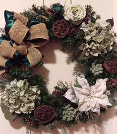 Sage Green and White Lighted Burlap Winter Wreath by Randi Sheldon at Michaels 1600