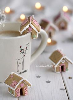 Cute Mini Gingerbread Cottage Cookies - link has the template and directions on how to make these cute little bite-size gingerbread houses.