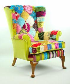 Bespoke patchwork armchair in designer velvets on Etsy, £595.00