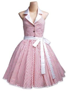 50s Cloths for Women's Fashion   1950s White / Small Red Polka Dot Dress (TD-005), was closed 01 Sep ...