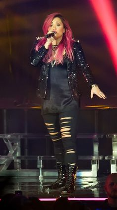 Demi Lovato performing at her Neon Lights Tour in Camden, NJ, March 1,2014