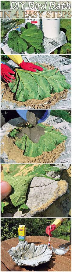 You can make a beautiful bird bath for your garden in just minutes. For this easy DIY you just need a rhubarbleaf, cement, sand and some buttermilk for the final touch. And if you don't have any birds to feed, you can use it as decoration or as a fruit bowl.