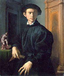 Agnolo Bronzino  Florence 1503–1572  Young Man with a Lute  1532/34   Tempera on panel    Galleria degli Uffizi, Florence  Cat. 14  (Photo: Paolo Nannoni, Florence)
