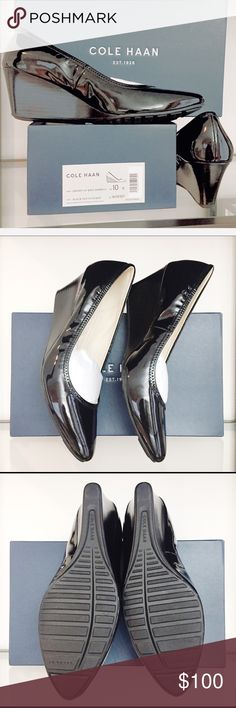96878ae02 New Black Patent Leather Wedges Cole Haan Emory NEW WITH BOX I purchased  these elegant shoes