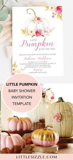 White Pumpkin Baby Shower Invitation Girl Little Pumpkin Invitation Baby Shower Printables Fall Baby Shower Invitation Template Autumn - A little pumpkin on the way? Treat the mom-to-be with a baby shower to remember with a fall themed - Baby Shower Fall, Fall Baby, Baby Shower Invites For Girl, Baby Shower Themes, Baby Shower Decorations, Baby Shower Gifts, Shower Ideas, Baby In Pumpkin, Little Pumpkin