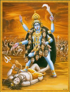 """shivaom: """" KALI DEVI ॐ """"She stormed the Universe destroying everything in sight, None of the Devas could stop Kaali. So, in order to subdue Her, Shiva fell lifeless at Her feet, upon seeing Her. Durga Kali, Kali Hindu, Kali Mata, Shiva Shakti, Hindu Art, Indian Goddess Kali, Durga Goddess, Indian Gods, Shiva Art"""